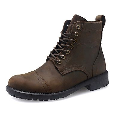 Men's Leather Flat Heel Ankle Combat Boots With Lace-up - USD $ 49.99