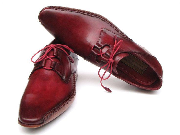 Paul Parkman Men's Ghillie Lacing Side Handsewn Dress Shoes Bordeaux Leather...