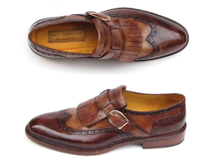 Paul Parkman Men's Wingtip Monkstrap Brogues Brown Leather Double Leather So...