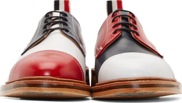 Thom Browne Red & Navy Colorblock Derby Shoes