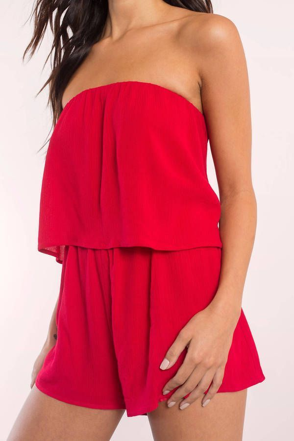 """faa3c669712d59 Search """"Georgie Strapless Tier Romper"""" on Tobi.com! elastic tiered ruffle flowy  red romper  ShopTobi  fashion  summer  spring  vacation Basic outfit simple  ..."""