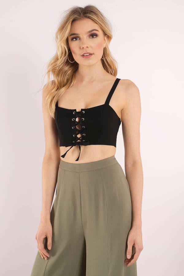 "bcc14ec52f4dee Search ""Justine Black Lace Up Crop Top"" on Tobi.com! cami crop lace up bralette  top cute  ShopTobi  fashion  summer  spring  festival Music festival ..."