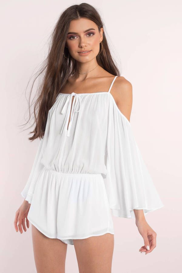 "9222803c1868 Search ""Nicole White Romper"" on Tobi.com! off the shoulder cold shoulder  keyhole self tie cami strap bell flare fluted sleeves cinched drop waist  playsuit ..."
