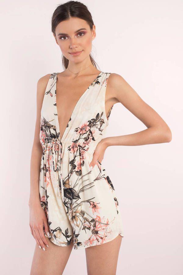 "3106e138115 ... Floral Print Romper"" on Tobi.com! plunge plunging neckline self tie  front wide strap playsuit flower print cream tropical  ShopTobi  fashion   summer ..."