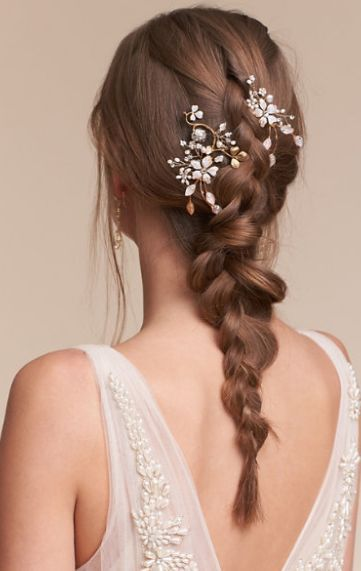Featured Hair Accessory: BHLDN; Wedding hairstyle idea.