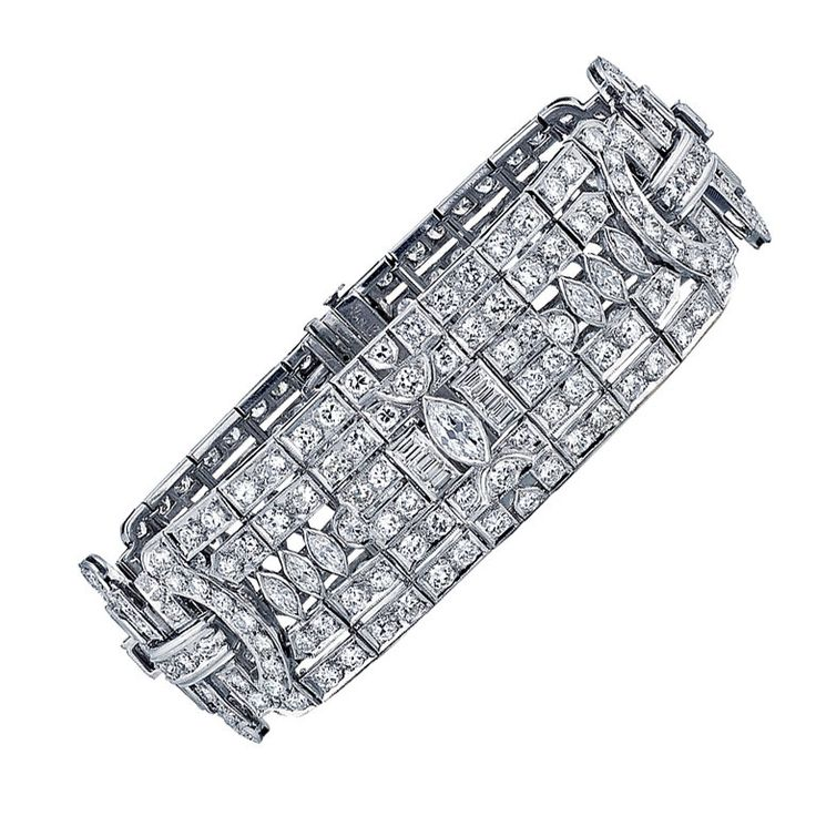 1920's Van Cleef Arpels Diamond Platinum Bracelet. | From a unique collection of...