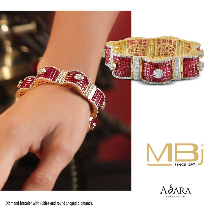 Beautiful bracelet with rubies and round shaped diamonds from ADARA collection o...