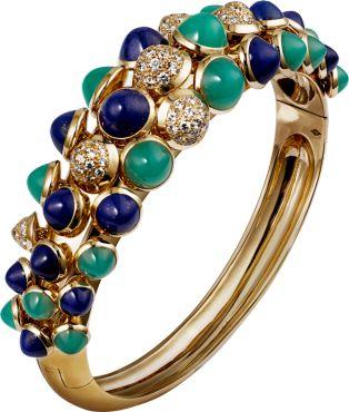 CARTIER Bracelet Paris Nouvelle Vague Or jaune, diamants, lapis lazuli, chrysopr...