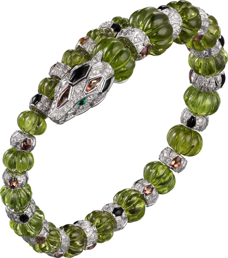 CARTIER. Bracelet - white gold, melon-cut peridots, orange sapphires, onyx, emer...