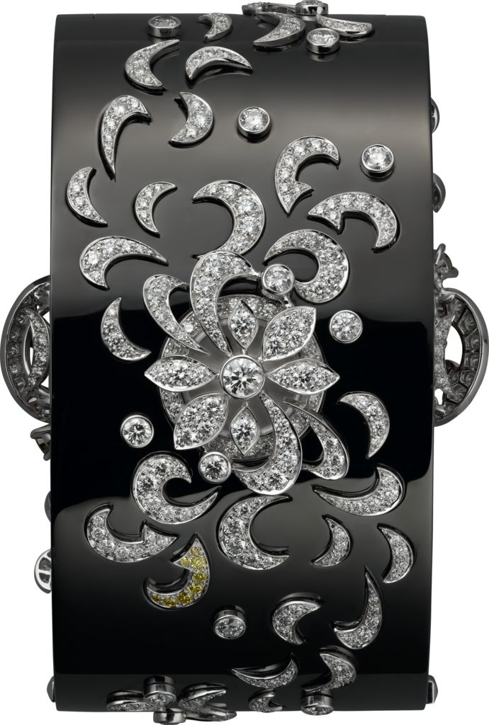 Cartier High Jewelry secret hour brooch watch, quartz movement, caliber 058. Rho...