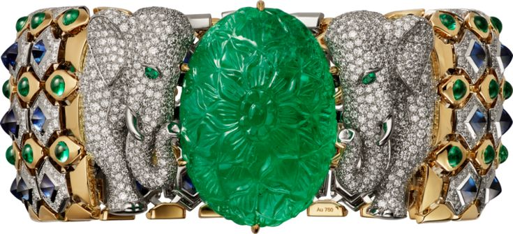 Cartier. Bracelet - platinum, yellow gold, one 79.50-carat carved emerald from C...