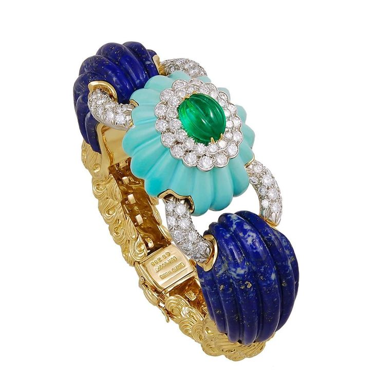 DAVID WEBB Two Tone Diamond, Lapis, Turquoise and Emerald Bangle | From a unique...