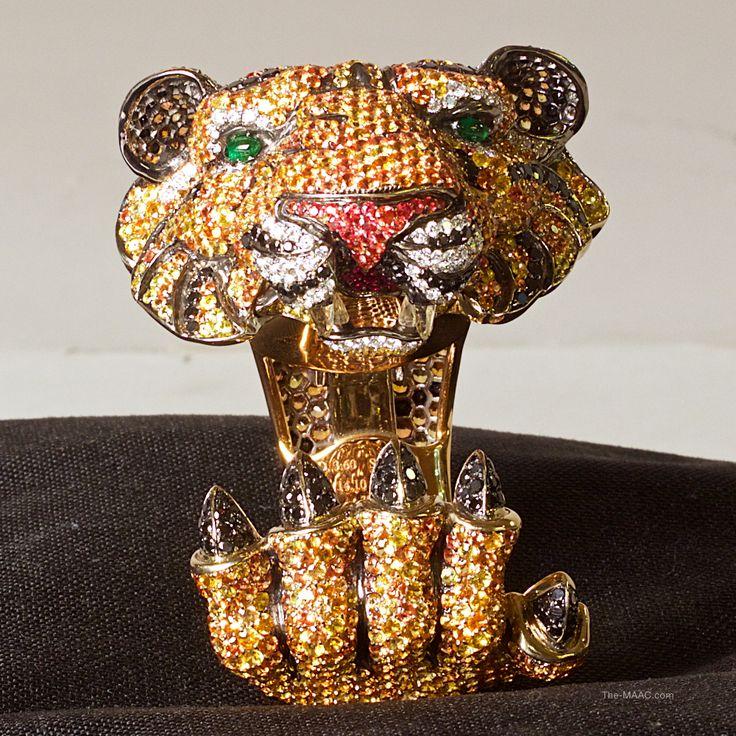 De Grisogono Tiger Cuff. Multicolor sapphire and diamond tiger cuff bracelet by ...