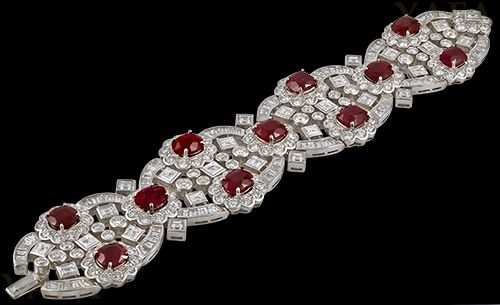 HARRY WINSTON Diamond and Burma Rubies Bracelet - Yafa Jewelry