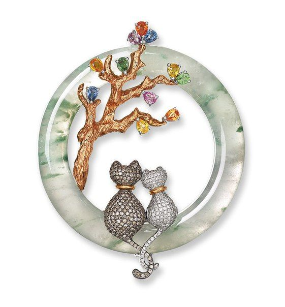 Icy Jadeite, Coloured Sapphire, Brown Diamond And Diamond 'Moonlight' Pe...