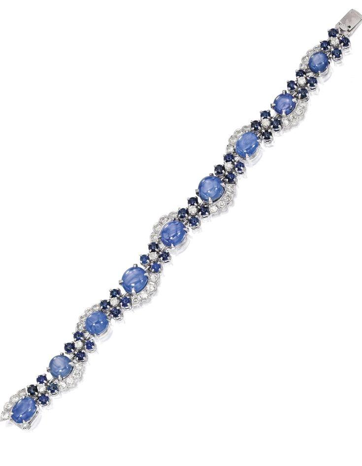Platinum, Star Sapphire, Sapphire and Diamond Bracelet, Verdura - Sotheby's