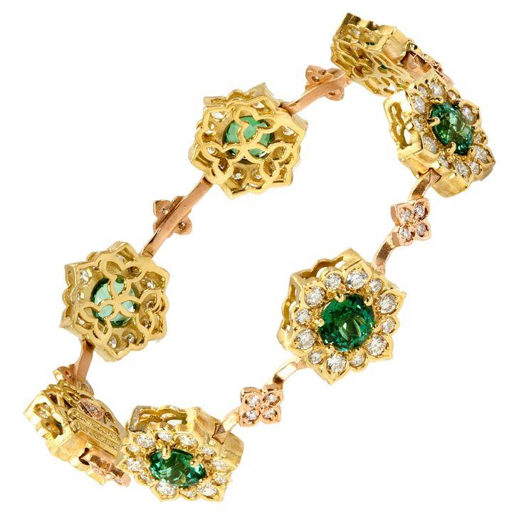 Tourmaline Diamond Gold Bracelet | From a unique collection of vintage more brac...