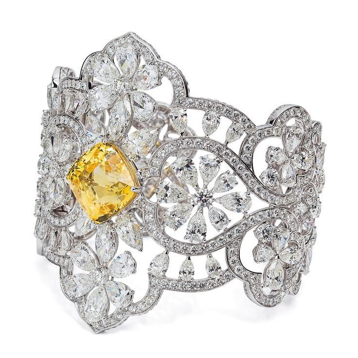 #orlovjewelry bracelet set with diamonds and a natural yellow sapphire center of...