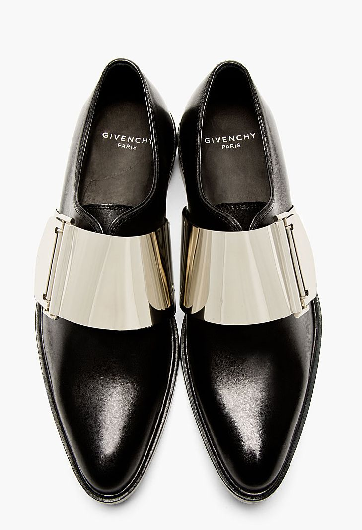 Buffed leather metal buckle feature 'Richelieu' lace-up shoes in black. Point to...