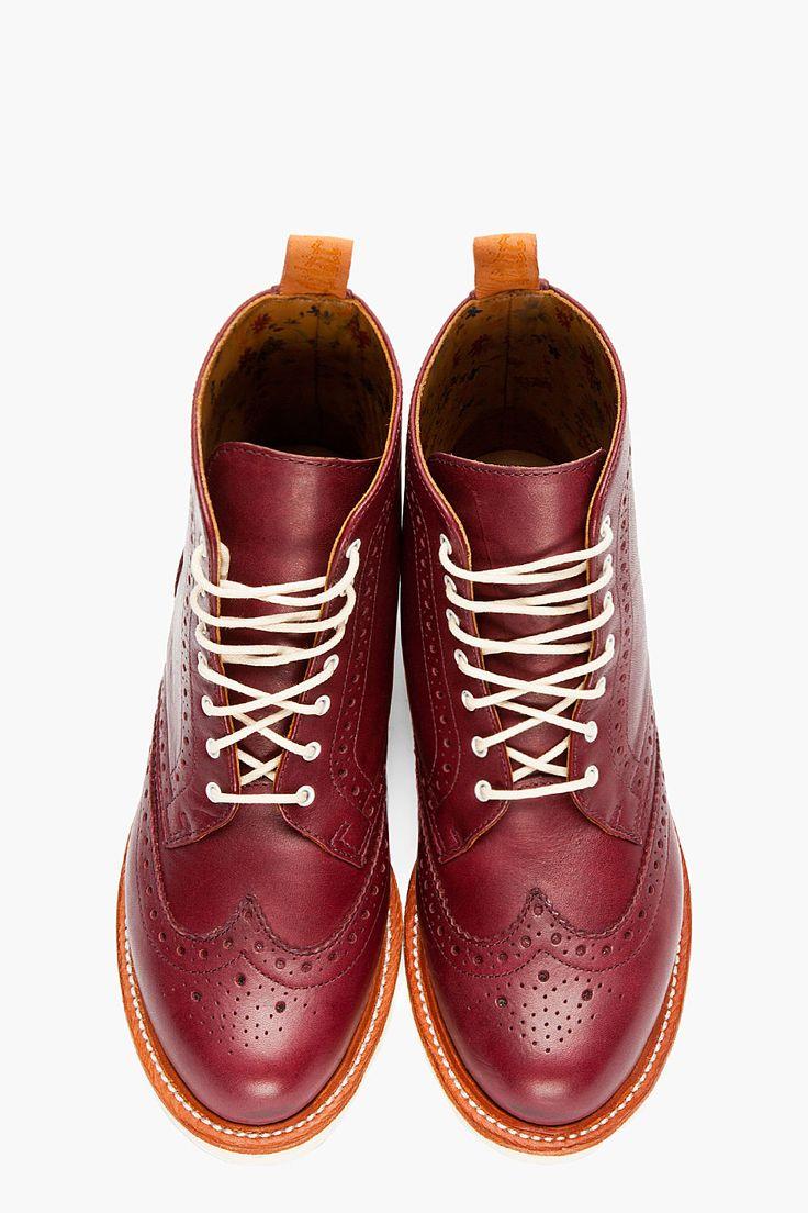 DR. MARTENS Burgundy Leather Bentley Wingtip Brogue Boots
