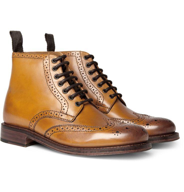 Grenson, Sharp Leather Brogue Boots