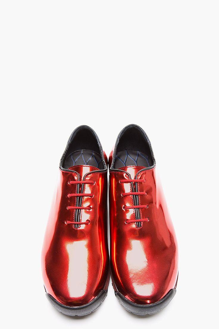 KENZO Red Metallic Leather Sneakers