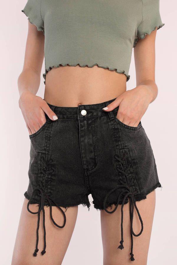 "7f317dc2e6 Search ""Ava Black Lace Up Shorts"" on Tobi.com! high waisted lace up down denim  shorts trendy frayed cutoff hem distressed #ShopTobi #fashion #summer  #spring ..."