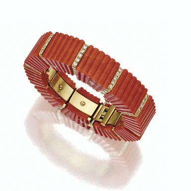 ❤ - Coral and diamond bangle-bracelet, David Webb