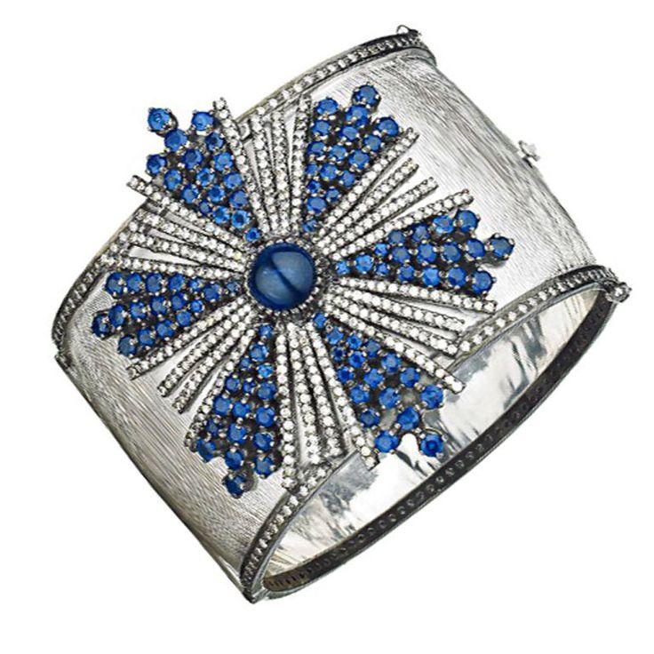 1stdibs - Sapphire and Diamond Bangle Bracelet explore items from 1,700 global d...
