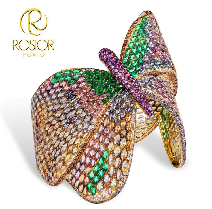 Butterfly Bracelet Diamonds, Sapphires and Emeralds weighting aprox. 100cts. Uni...