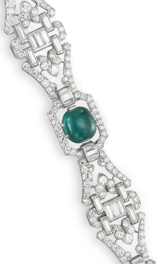Detail: Art Deco diamond and emerald bracelet by J.E. Caldwell, circa 1930. Via ...