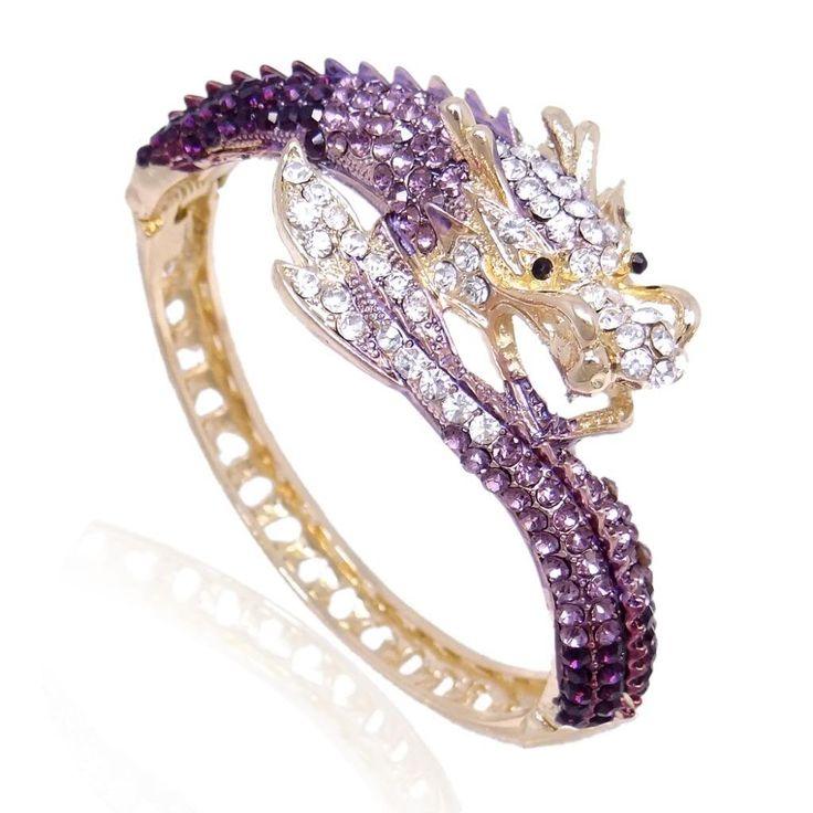 EVER FAITH Gold-Tone Bold Dragon Bracelet Purple Austrian Crystal A07924-13