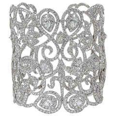 Magnificent Wide Diamond Cuff Bracelet