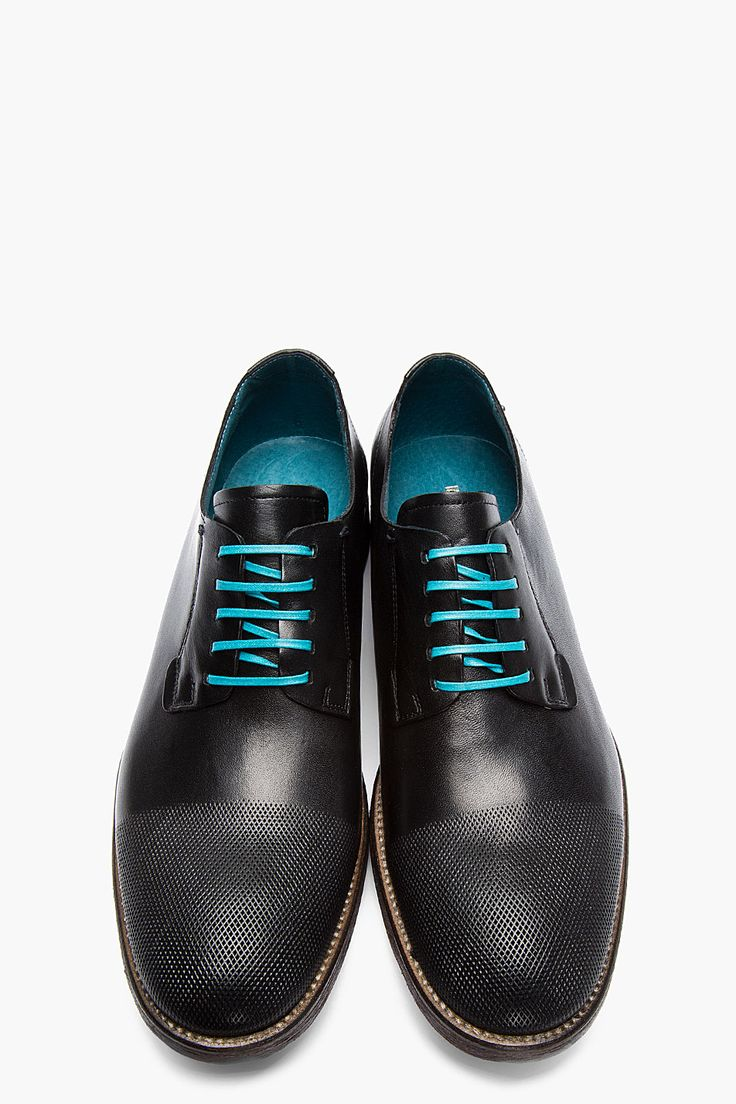 DIESEL Black Leather Micro-Perforated Iridium Shoes