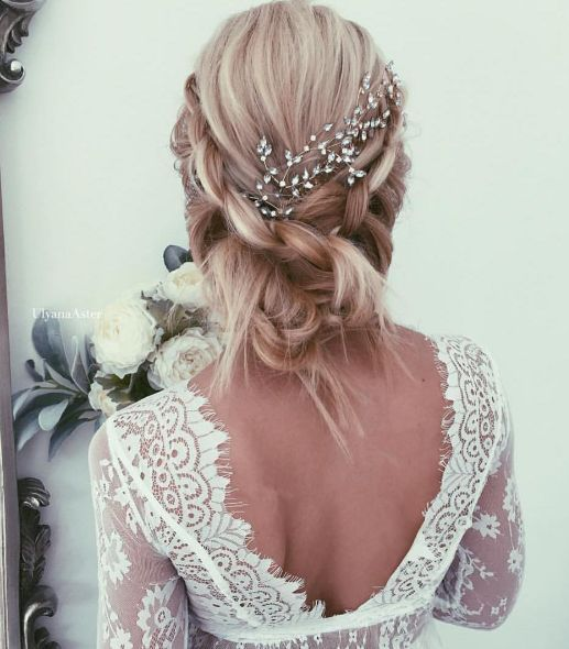 Both Sides Braided Low Updo Wedding Hairstyle - MODwedding