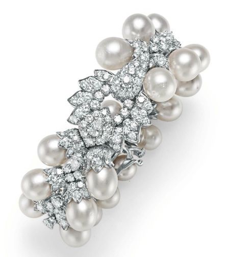 A DIAMOND AND CULTURED PEARL BRACELET, BY DAVID WEBB