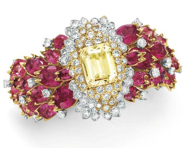A DIAMOND, RUBELLITE TOURMALINE AND YELLOW SAPPHIRE BRACELET, BY DAVID WEBB