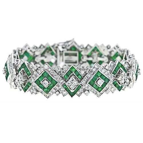 Art Deco Bracelet with diamonds and emeralds