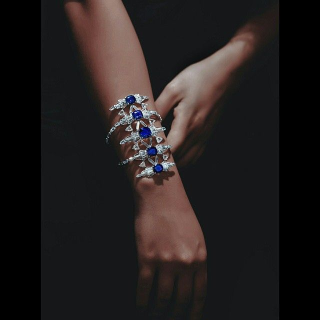 Instagram media by formsjewellery - A Blue Sapphire and Diamond Bangle - Forms J...