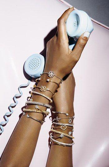 pretty framed crystal skinny cuff bracelets rstyle.me/...