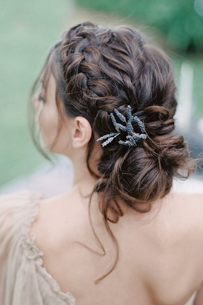 Side Braid Messy Low Bun Wedding Hairstyle