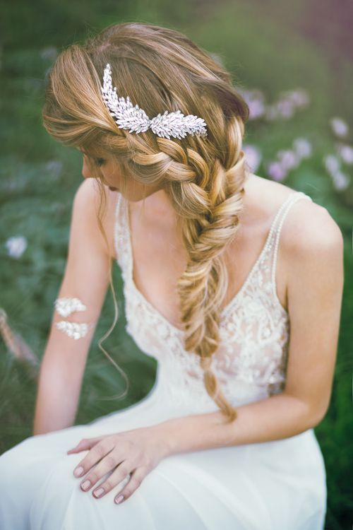 Side Twisted Braid Hairpiece Wedding Hairstyle