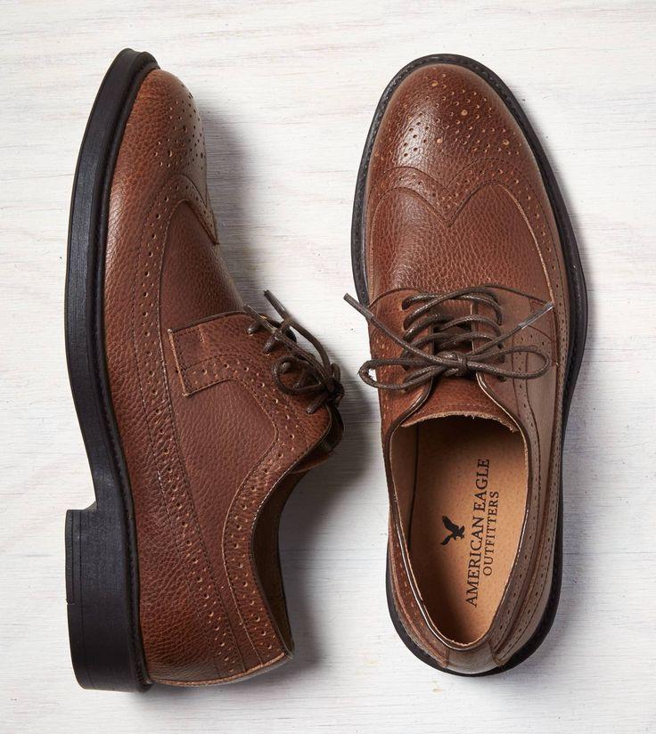 Dark Brown AEO Perforated Leather Wingtip Oxford