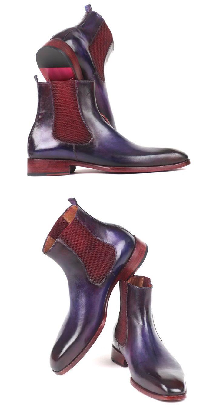 Paul Parkman Navy & Purple Chelsea Boots