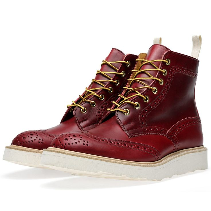 Tricker's x END. Vibram Sole Stow Brogue Boot (Lollipop Red Cavalier Leather)