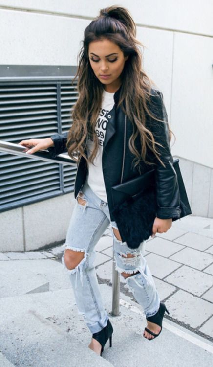 leather jacket + ripped jeans