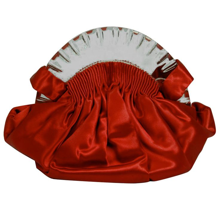 1930 red satin Lucite bag with spring hinges, original comb mirror, and coin pur...