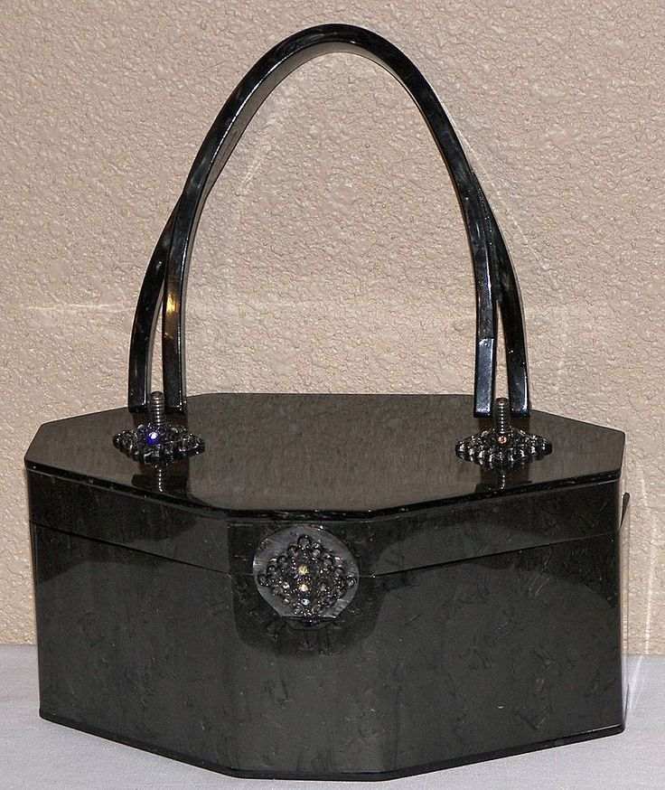 1950's charcoal and black lucite purse #purses1950s