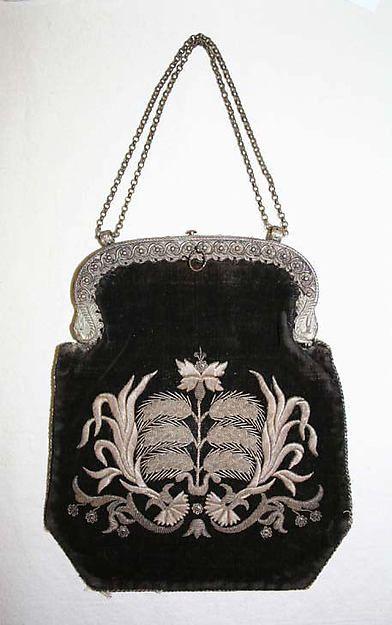 19th century Bag ~ German ~ Metropolitan Museum Of Art ♥  Looks like metallic ...