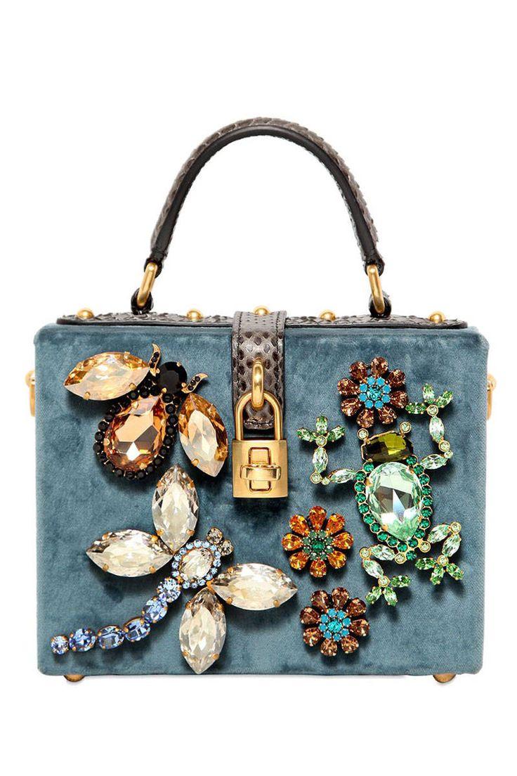 Dolce & Gabbana Small Velvet Embellished Dolce Bag, $4,295
